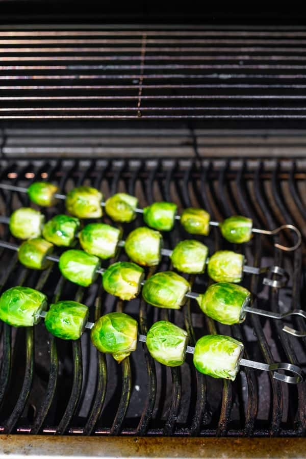 showing how to grill brussel sprouts on the barbecue