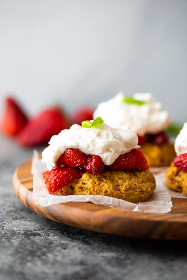 easy strawberry shortcake recipe on brown plate