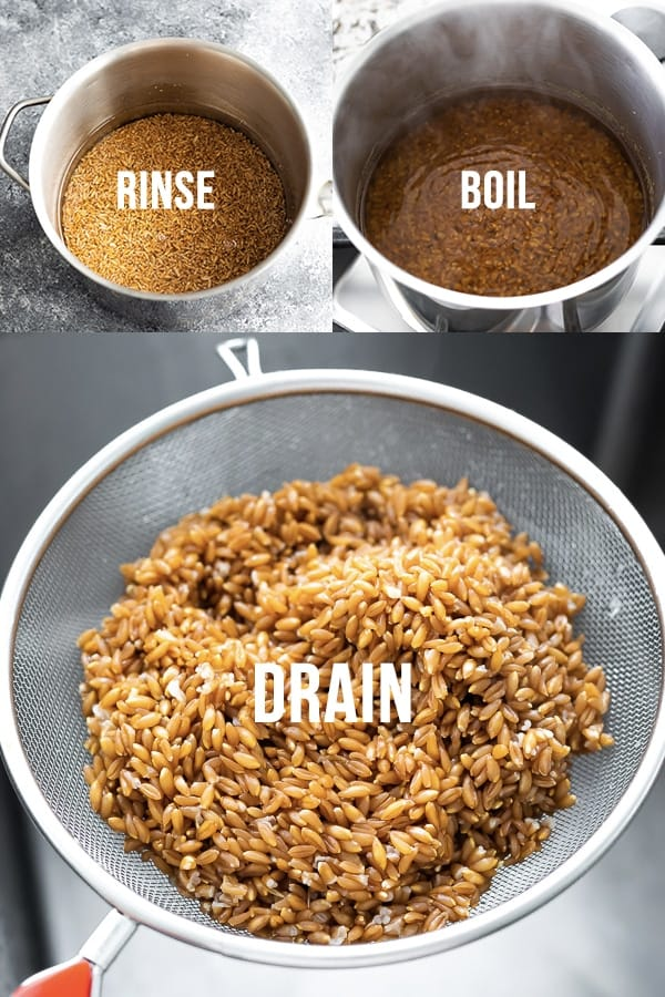 showing how to cook farro in a collage image