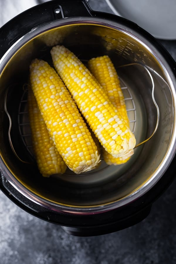 overhead view of instant pot corn on the cob after cooking
