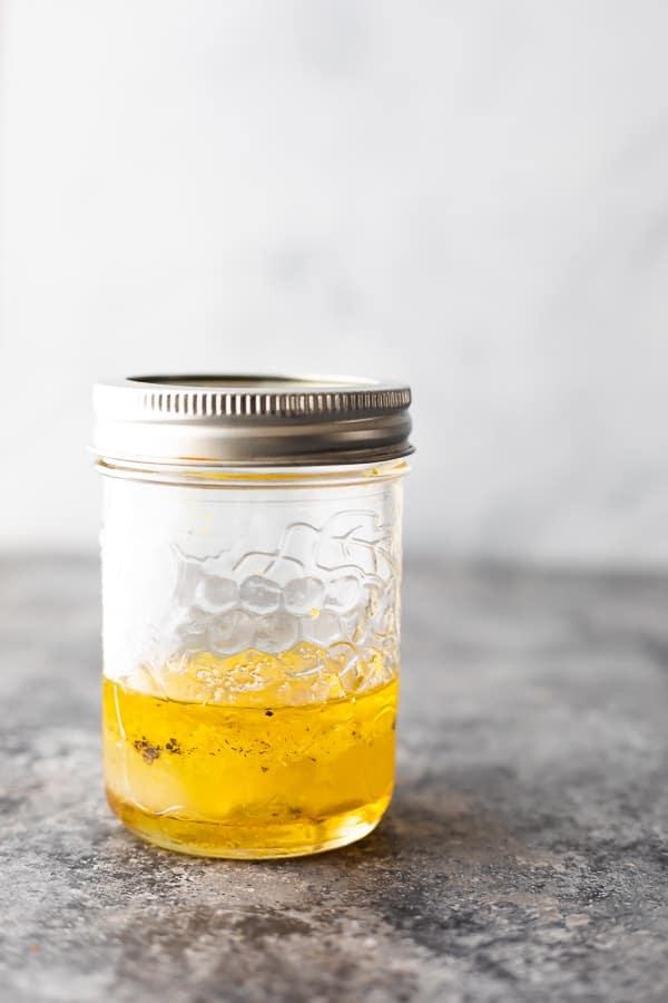 vinaigrette for the israeli couscous salad in jar
