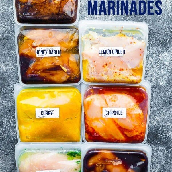 freezer bags labeled and filled with chicken and seven different chicken marinades