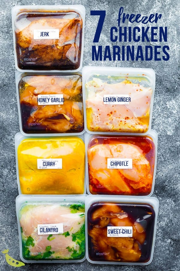 collage image with 7 bags containing chicken marinade with chicken