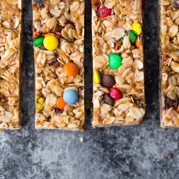 Overhead shot of four monster granola bars in a row