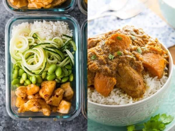 collage image with Chicken rice bowl ideas