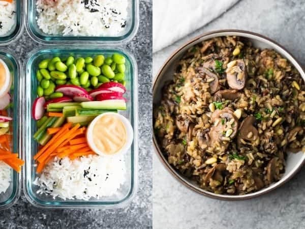 collage image with Meatless rice bowls