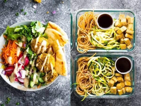 vegetarian meal prep ideas collage image