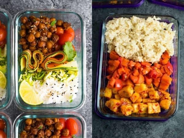 meal prep vegetarian ideas collage image