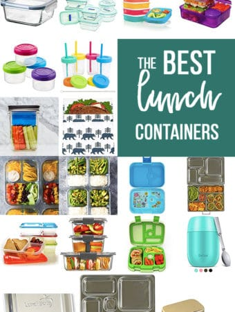 collage image of various containers with text saying the best lunch containers