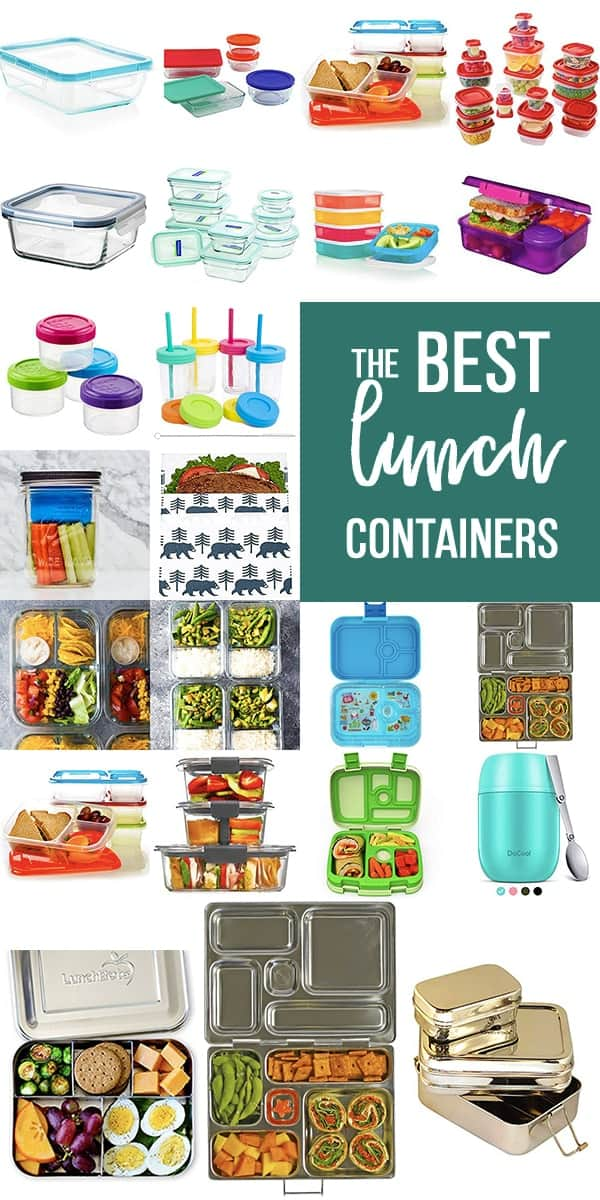 collage image with the Best Lunch Containers for Meal Prep