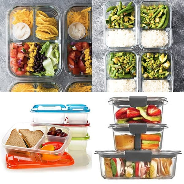 collage image with Lunch containers with dividers