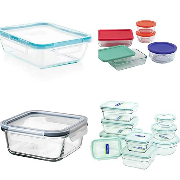 collage image with Glass lunch containers