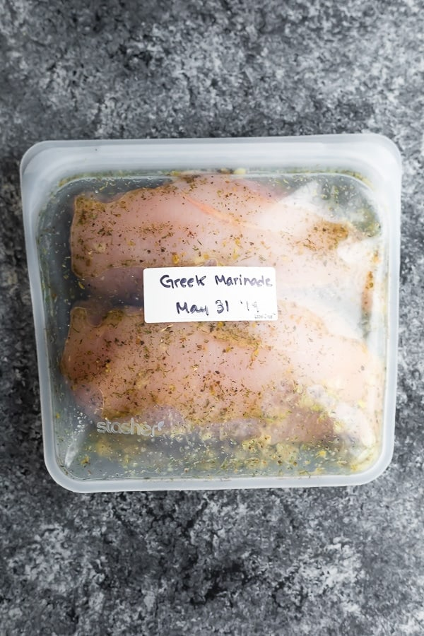 chicken in greek chicken marinade recipe in reusable bag