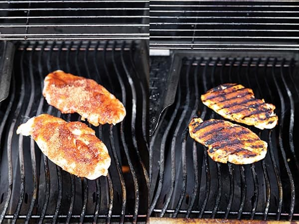collage image showing how to cook grilled chicken breast on the grill