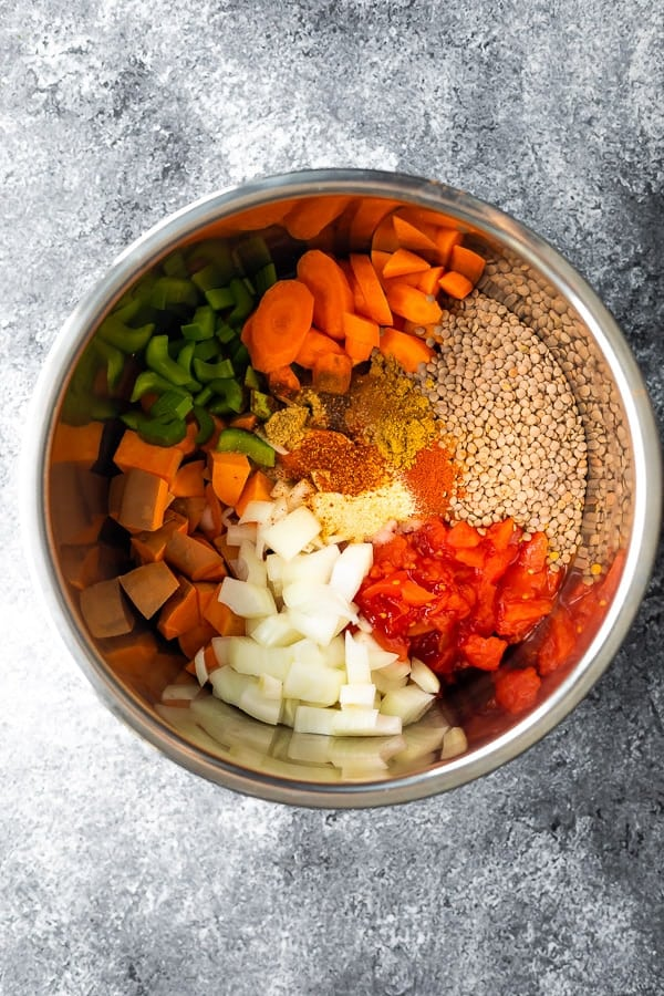 ingredients for moroccan lentils instant pot in the instant pot