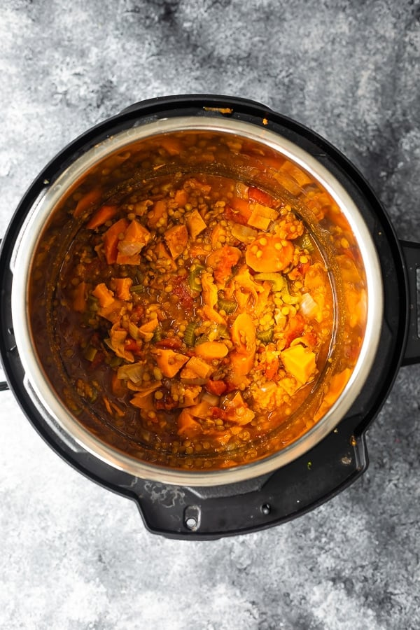 moroccan lentils in instant pot after cooking
