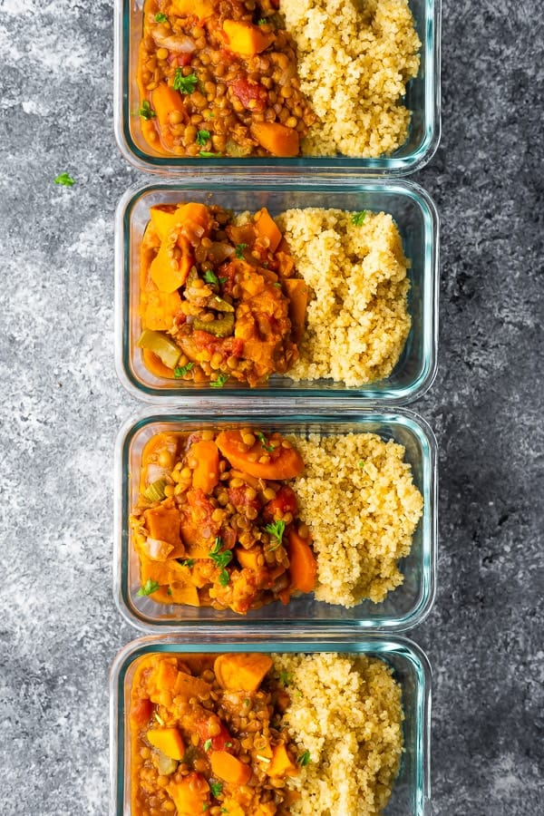 instant pot lentil recipes in meal prep containers