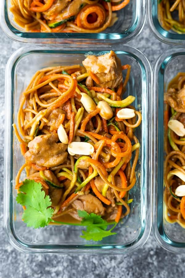 Spicy Instant Pot Peanut Noodles in meal prep container