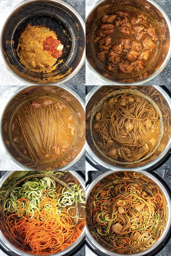 Spicy Instant Pot Peanut Noodles collage image