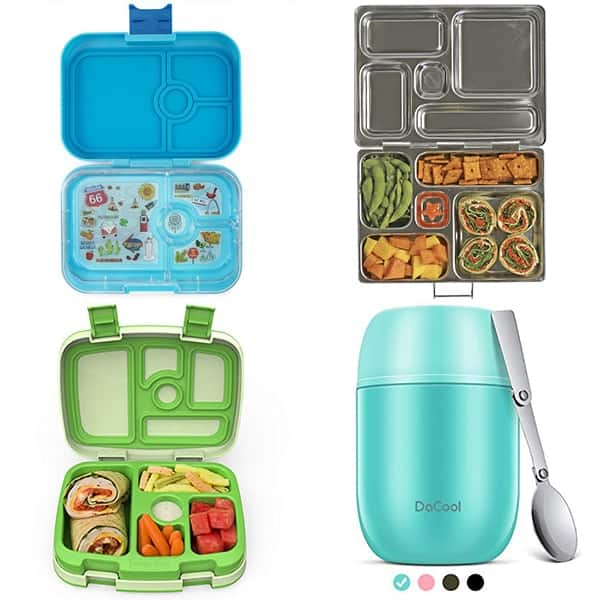collage image with Kids lunch containers