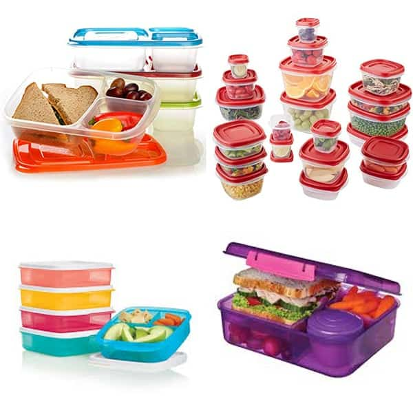 collage image with Plastic lunch containers