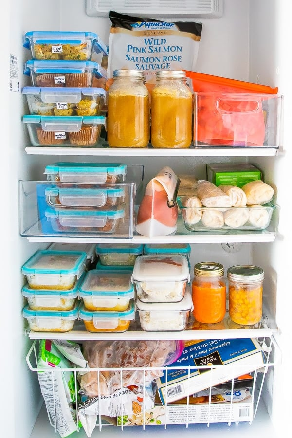 freezer stocked up with healthy freezer meals