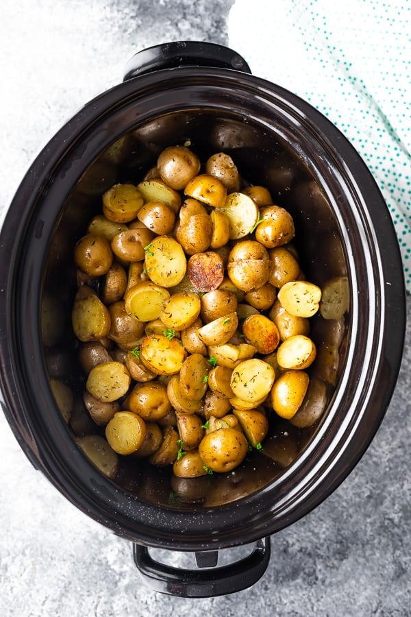 overhead view of crock pot potatoes recipe in slow cooker after cooking