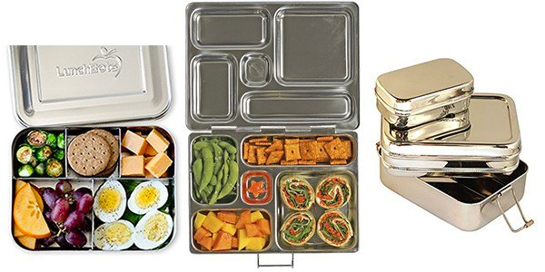 collage image with Stainless steel lunch containers