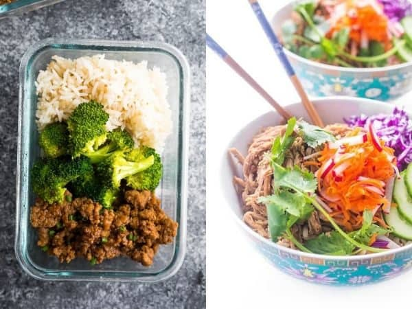 collage image of Turkey, pork & beef rice bowl recipes