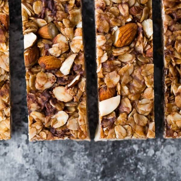 overhead shot of snickerdoodle almond butter granola bars sliced in a row