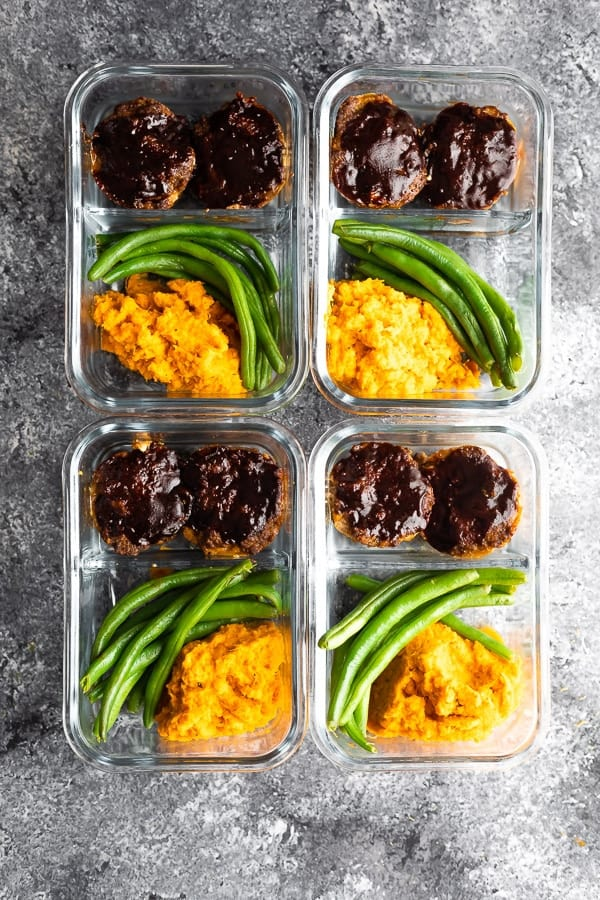overhead view of bbq meatloaf meal prep bowls in meal prep containers