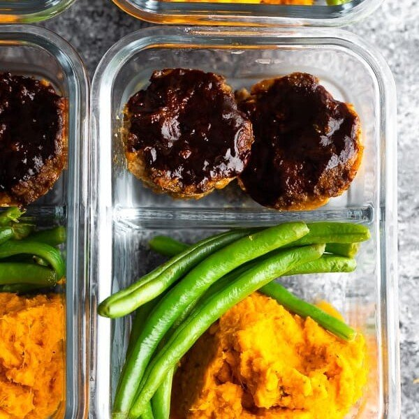 overhead shot of barbecue meatloaf meal prep bowls in glass container