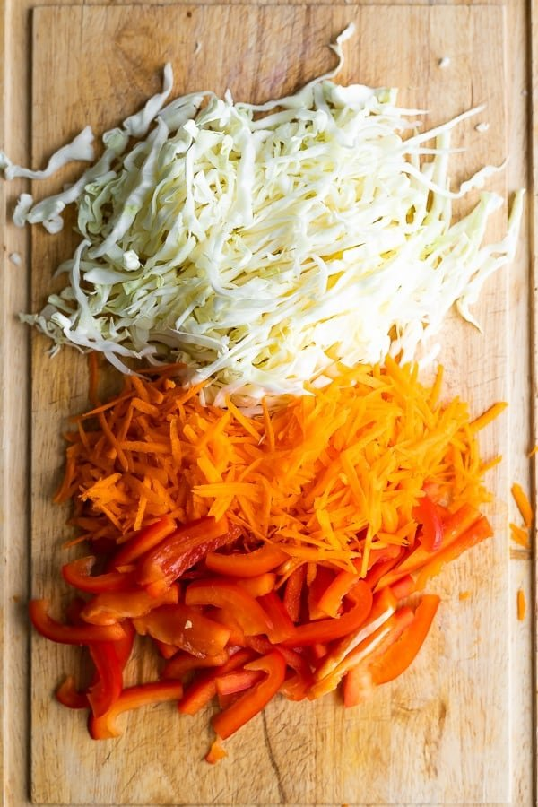 ingredients for Vegan Spring Roll Bowl Meal Prep on cutting board