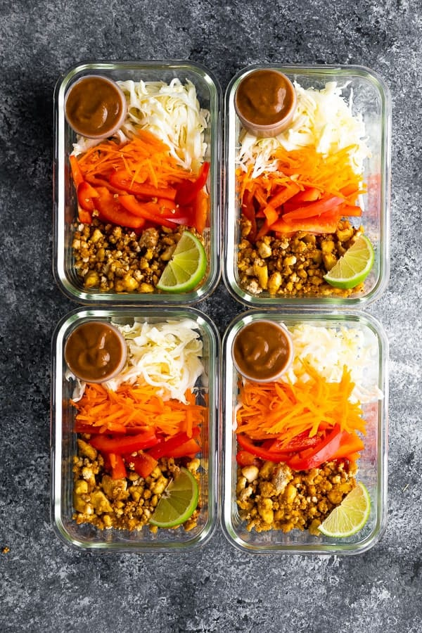 Vegan Spring Roll Bowl Meal Prep assembled in meal prep containers