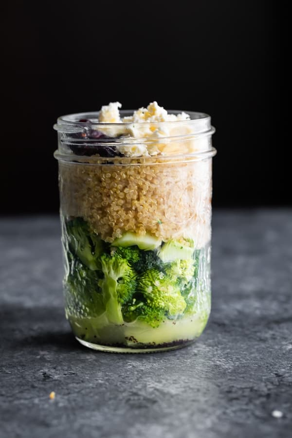 broccoli cranberry salad in mason jar for meal prep