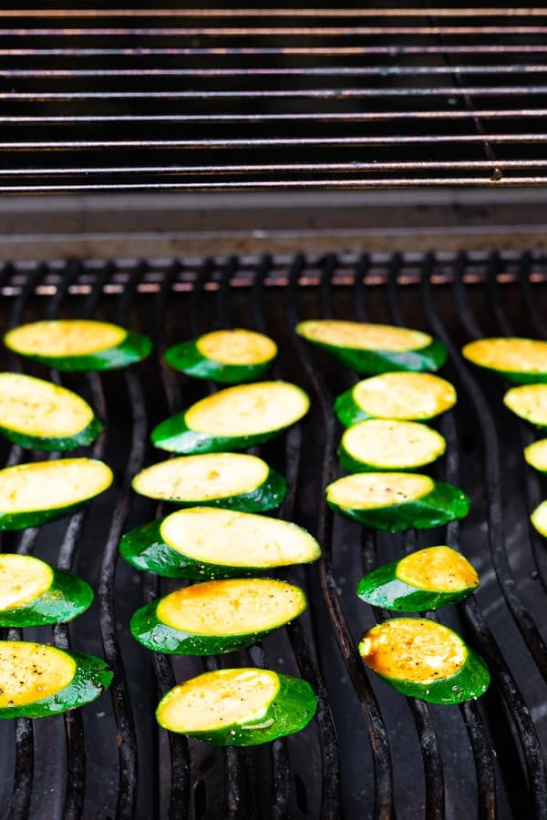 showing how to grill zucchini on the barbecue
