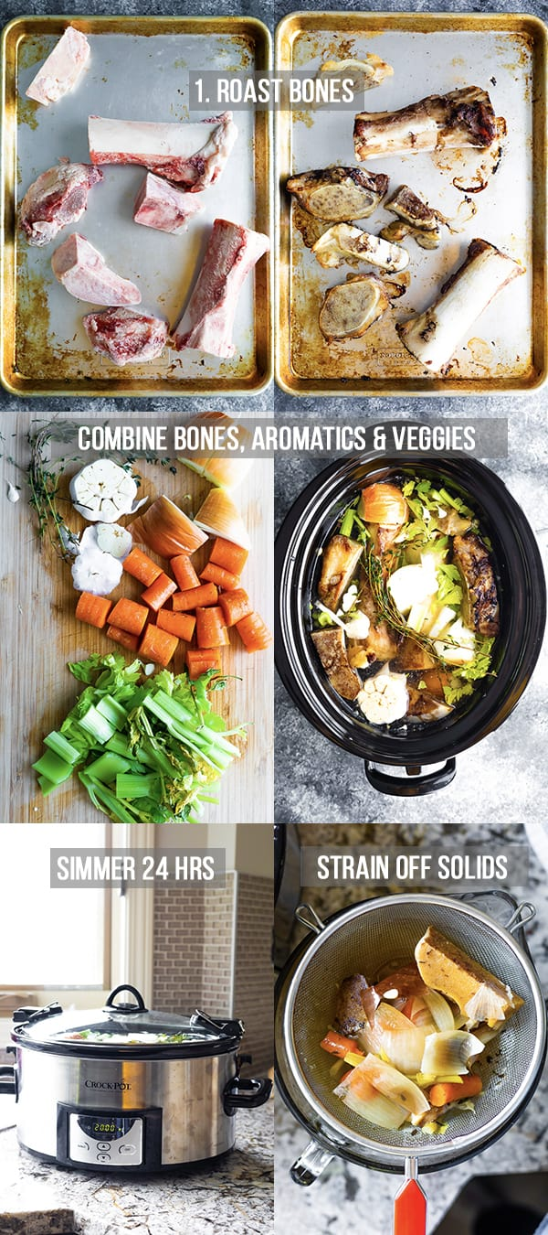 collage image showing how to make bone broth