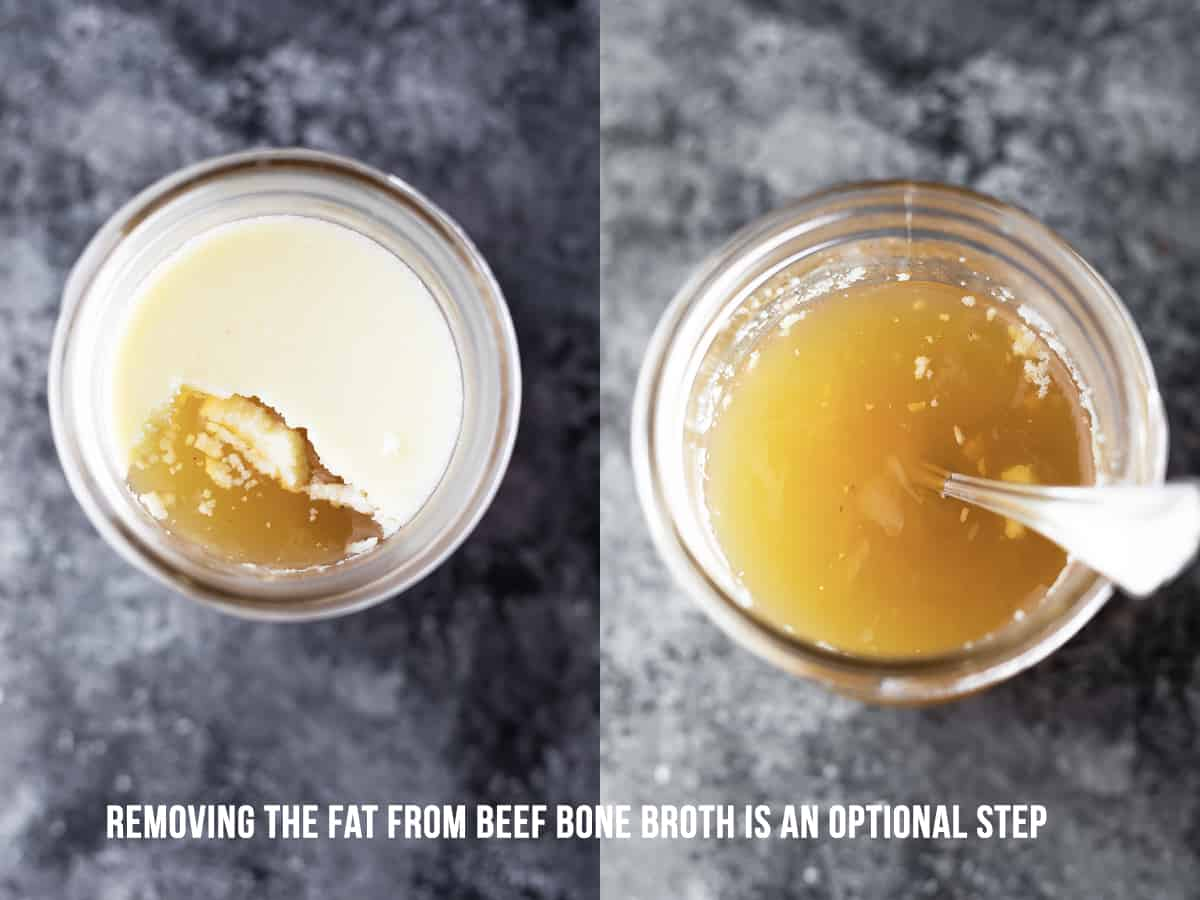 showing how to remove the fat from beef bone broth