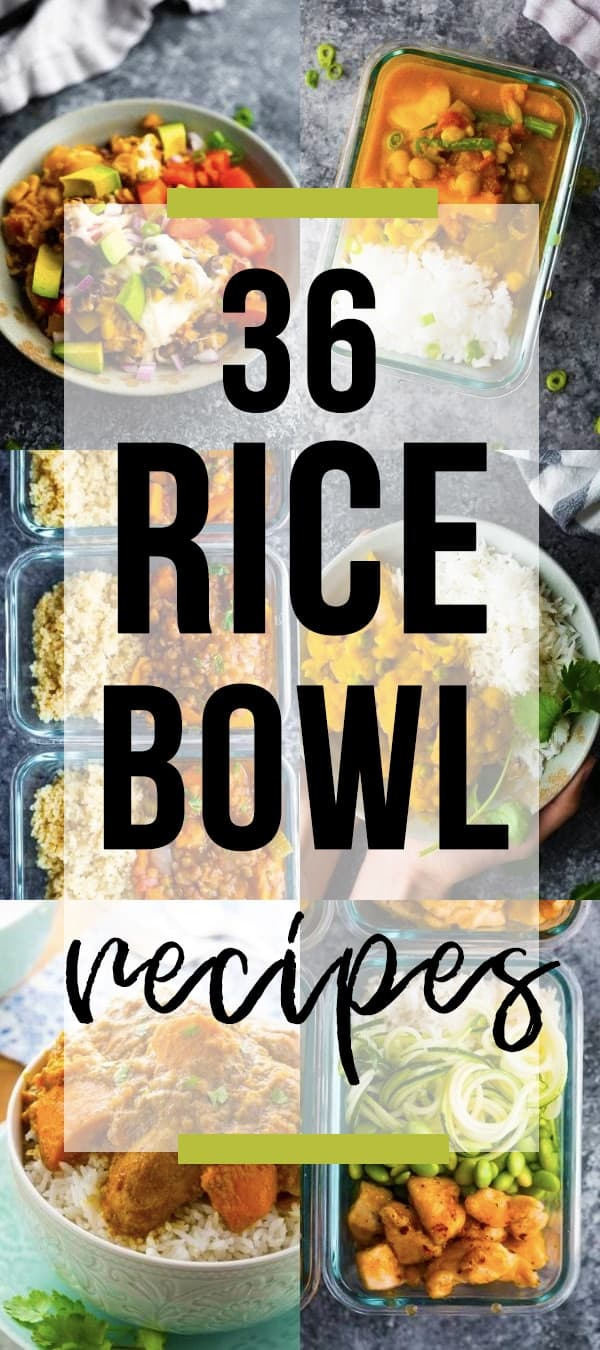 collage image with 36 Tasty Rice Bowl Recipes