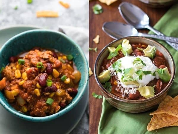 collage image with two crockpot chili recipe ideas