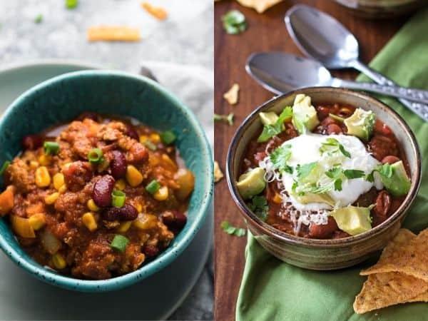 imagem da imagem com duas ideias de receitas de pimentão em crockpot