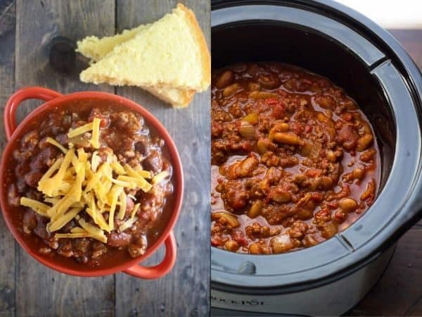collage image with two slow cooker chili recipe ideas