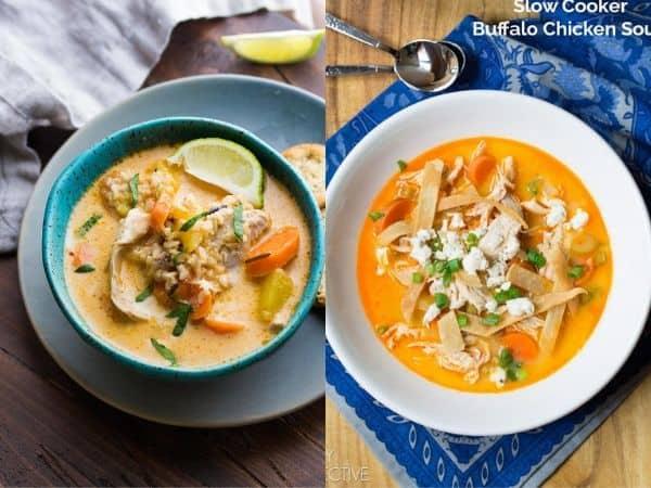 imagem com duas receitas de sopa de panela lenta