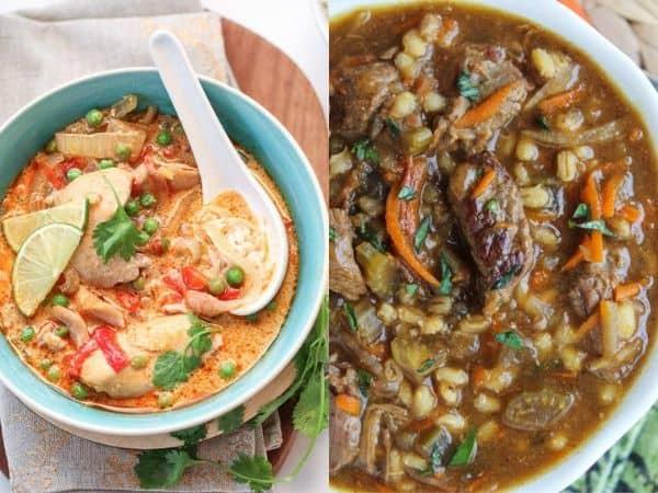 imagem com duas receitas de sopa de fogão lento