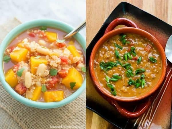 collage image with two crock pot soup recipes