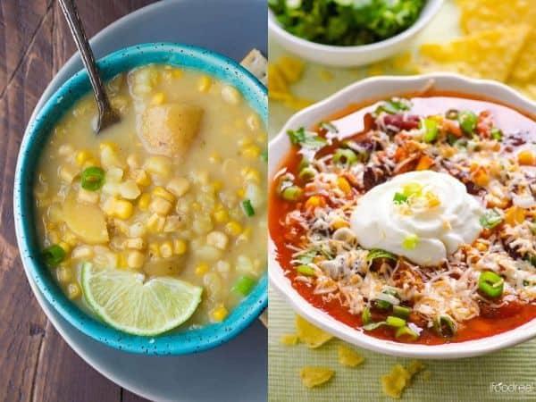 imagem com duas receitas de sopa de crockpot