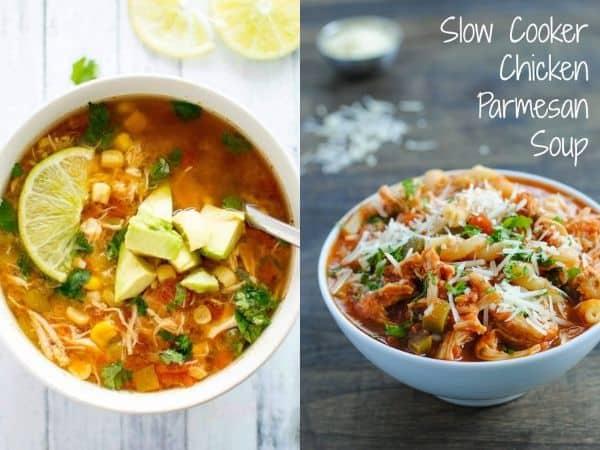 imagem com duas receitas de sopa lenta de fogão
