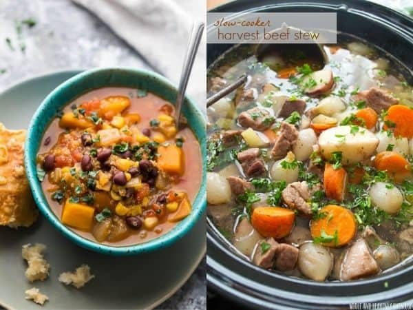 collage image with two crockpot stew recipes