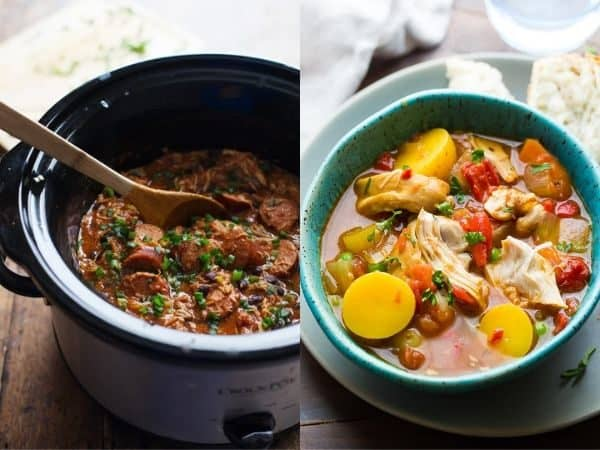 collage image with two crock pot stew recipes