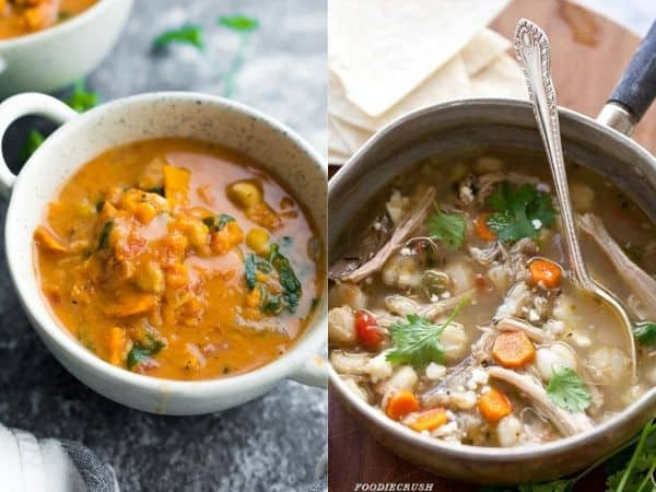 collage image with two slow cooker stew recipes